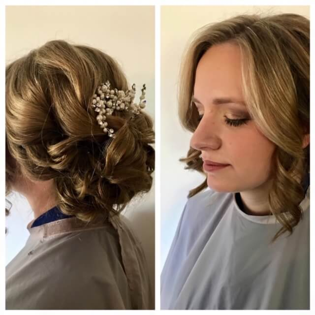 wavy updo with flowers